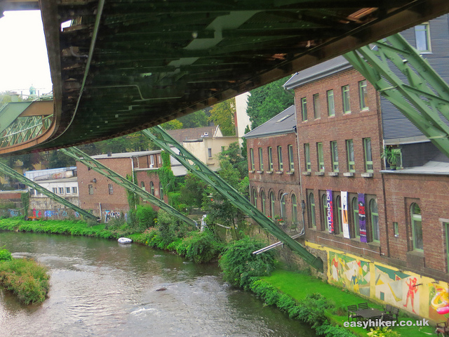"""Hanging trains track passing old factories in Wuppertal"""