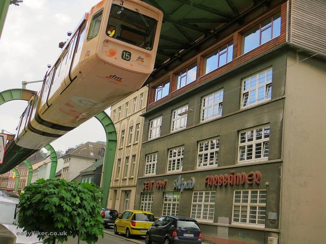 """""""A hanging train cabin in Wuppertal's Schwebebahn"""""""