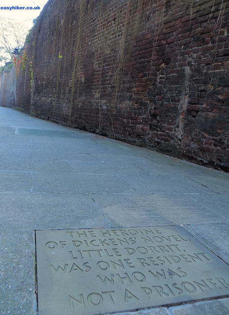 """A plaque on the street outside the old Marshalsea Debtors Prison in London"""