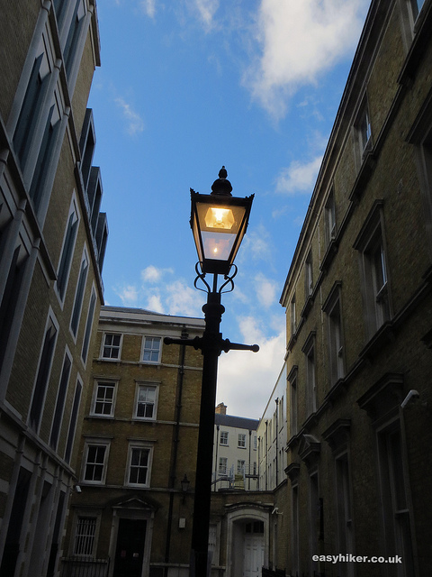 """A street lamp in Furnival St seen while walking London with Charles Dickens"""