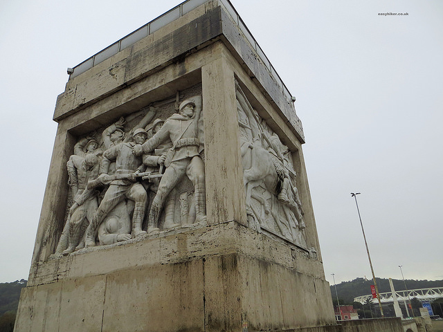 """one pillar of bridge leading to Foro Italico, an example of Italian fascist architecture"""
