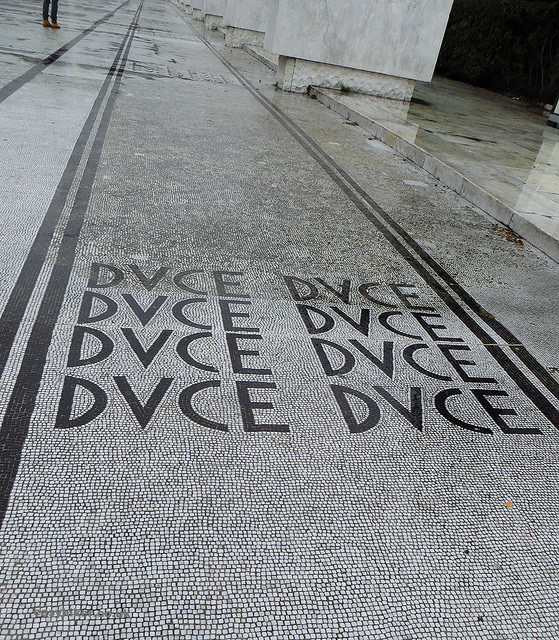 """Il Duce mosaic on the pavements of Foro Italico as example of Italian fascist architecture in Rome"""