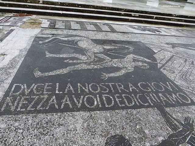 """Pavements with mosaic depiction of warriors in Foro Italico in Rome"""