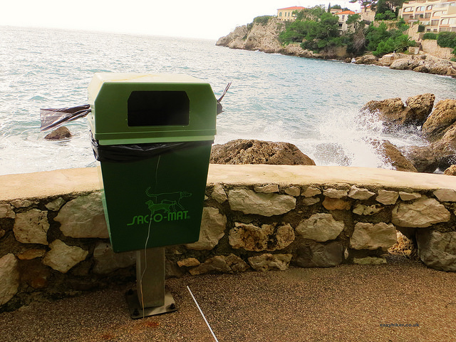 """A doggy-poo waste bin along the Cap d'Ail walking route"""