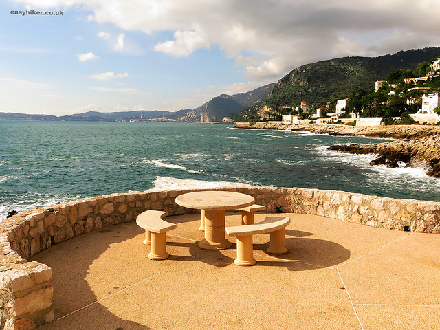 """Picnic table with a view on the Cap d'Ail trail on the French Riviera winter walk"""