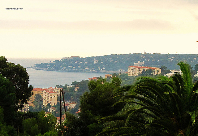 """View of the French Riviera coastline from atop a hill in Menton"""