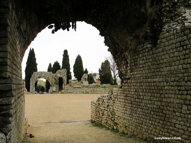 """French Riviera winter walk in Nice - entrance to Roman amphitheatre in Cimiez"""