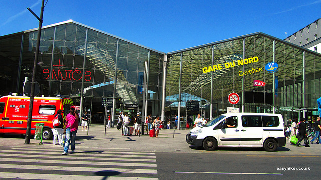 """""""front of the regional train station in Paris Gare du Nord"""""""