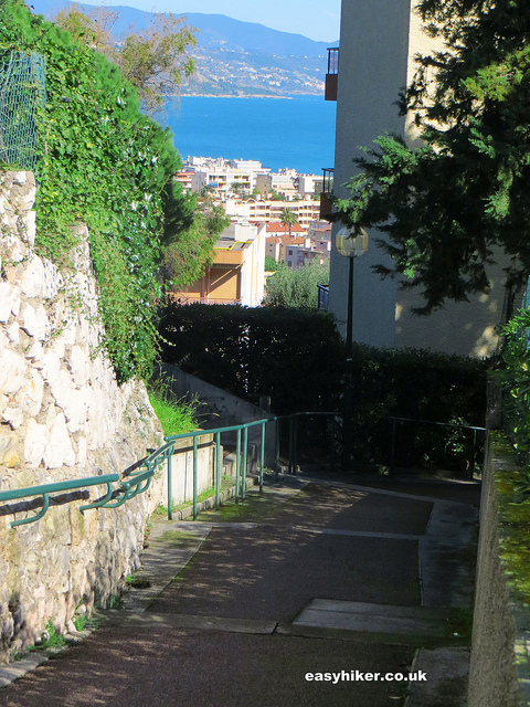 """stairway up trail leading Villa in the French Riviera where W B Yeats died"""