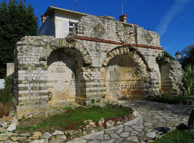 """remains of Villa Lumone, an ancient Roman mausoleum in Roqubrune"""