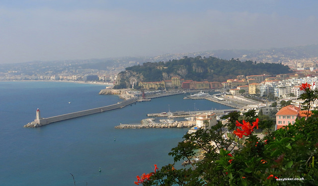 """View of Nice port from a French Riviera walk on Mont Boron"""