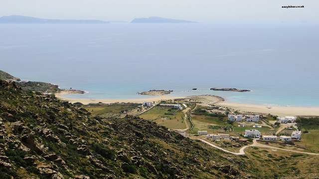 """Manganari beach, one of the sights of Ios, viewed from the hills"""