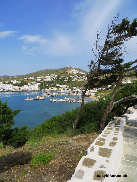 """View of the port of Ios from the trail"""