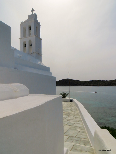 """St Irene church overlooking the port in Ios"""