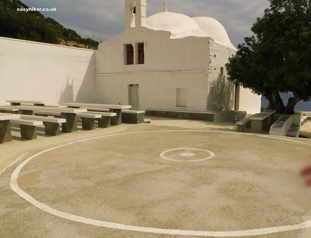 """a Greek dancing circle on the grounds of a monastery in one of the churches of Ios"""