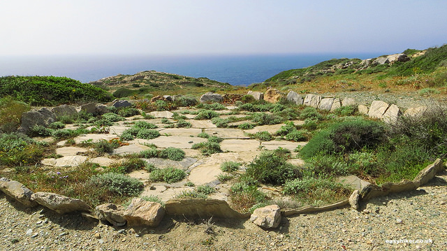 """a ""prehistoric"" Greek dance circle along the trail to the lighthouse of Ios"""