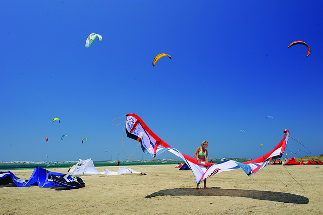 """Kite flying in the beach of Paros"""