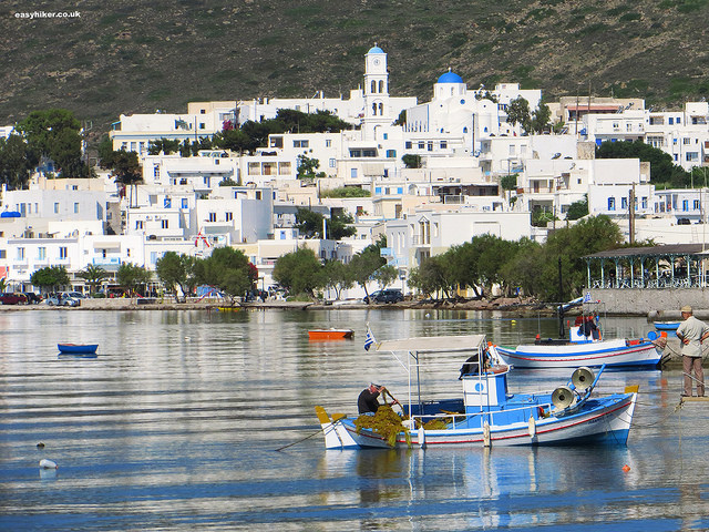 """Milos harbour - Mining Hikes in Milos"""