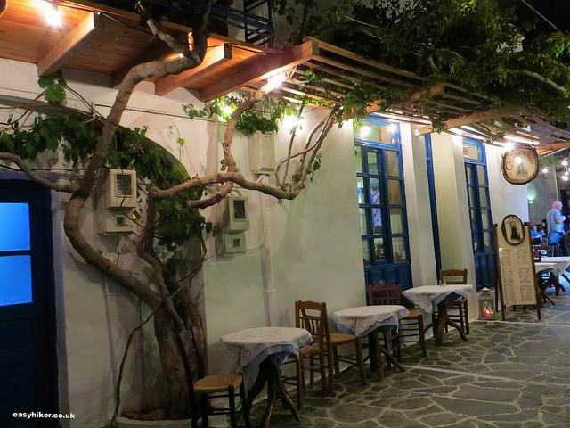 """tables outside Archontoula restaurant in Milos"""