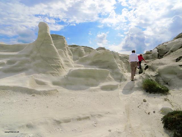 """Lunar landscape of Sarakiniko - Mining hikes in Milos"""