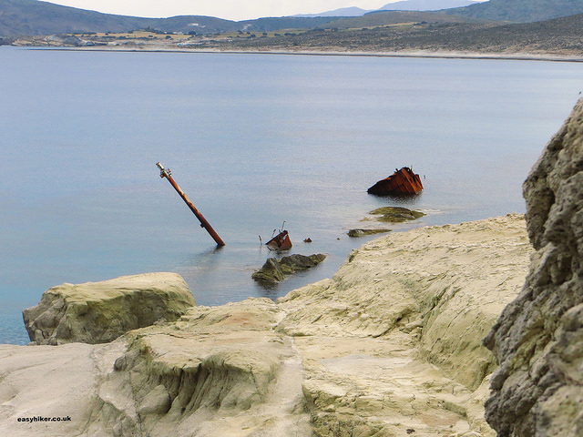 """remains of a sunk ship in the waters of Sarakiniko, Milos"""