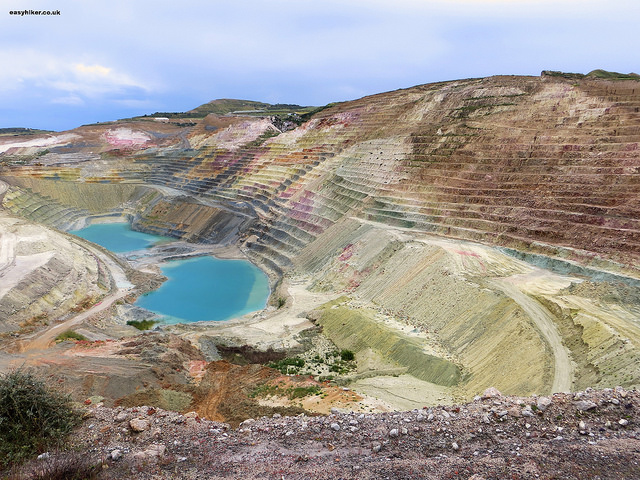 """a working mine in Milos - Mining hikes in Milos"""