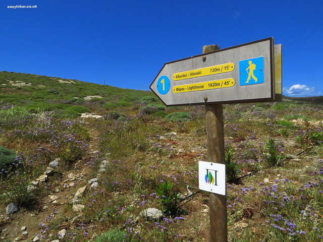 """""""finger post indicating a hiking trail in Paros"""""""