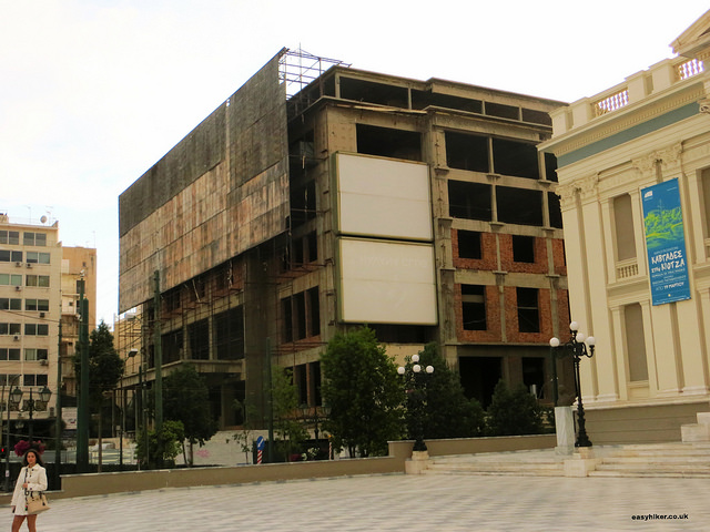 """unfinished construction of a department store seen when we spent two hours in Piraeus"""