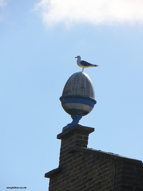 """architectural eggcup on a roof with bird perched on it"""