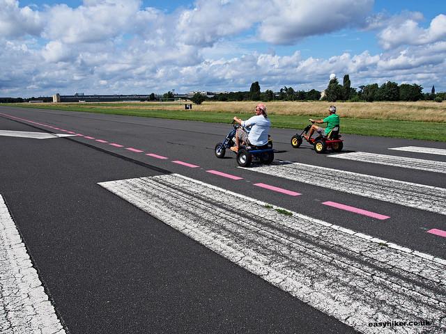 """""""Bikers on the runway of Tempelhof airport in Berlin"""""""