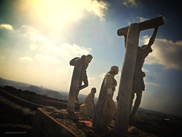"""Crucifixion scene on the pilgrimage of blood sweat and sunburn in Gozo"""