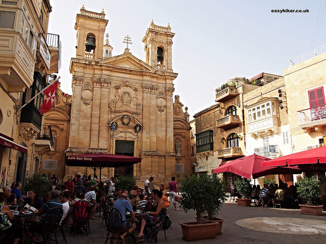 """Piazza in front of one of the many churches of Gozo"""