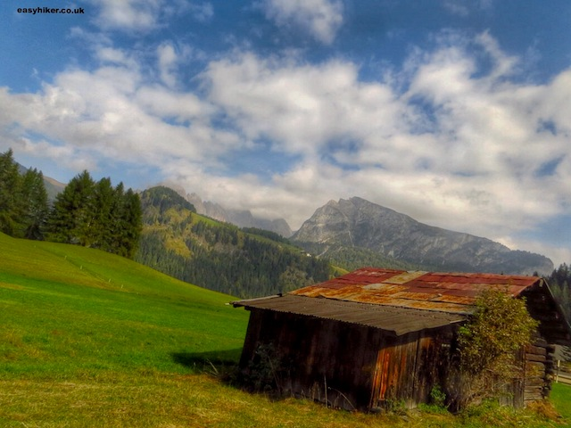 """A cabin on a valley in the Dolomites"""