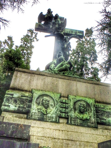 """one of the many large tombs in Cimitero Monumentale in Milan"""