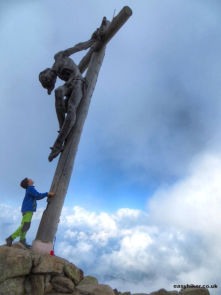 """Gipfelkreuz in the Rasciesa trail in the Italian Dolomites"""