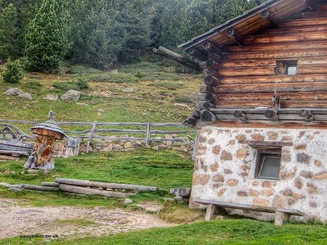 """An alpine farm up on the Rasciesa trail in Val Gardena"""