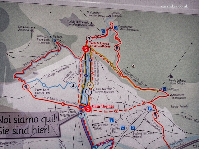 """map showing walking trails around Bolzano, the hub of the Dolomites"""