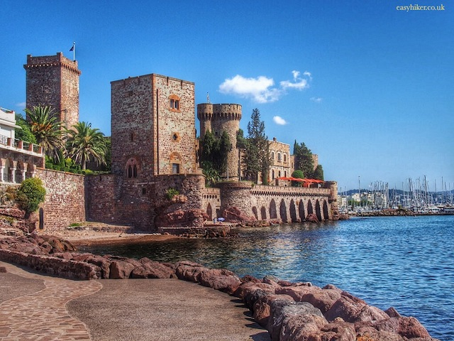 """View from the beach of one of the castles of La Napoule'"