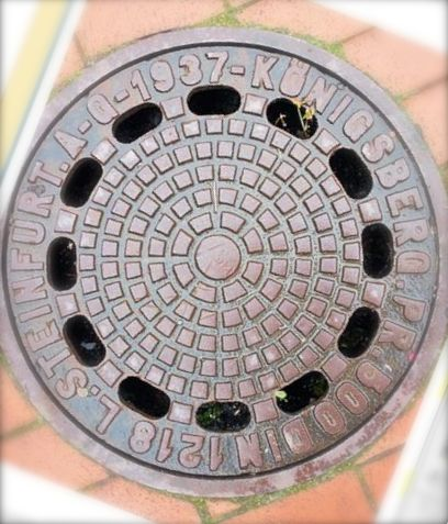 """Manhole in Kaliningrad, last vestige of German presence"""