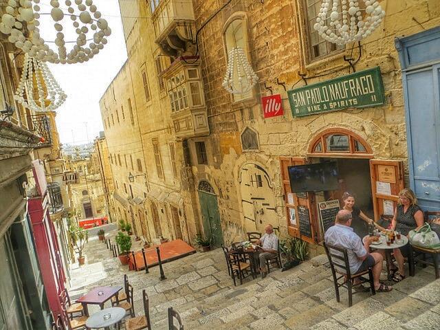 """""""one of restaurant lined stairways of Valletta in Malta"""""""