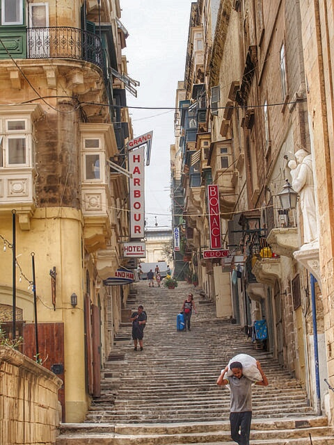 """""""one of the shop-lined wide stairways of Valletta in Malta"""""""