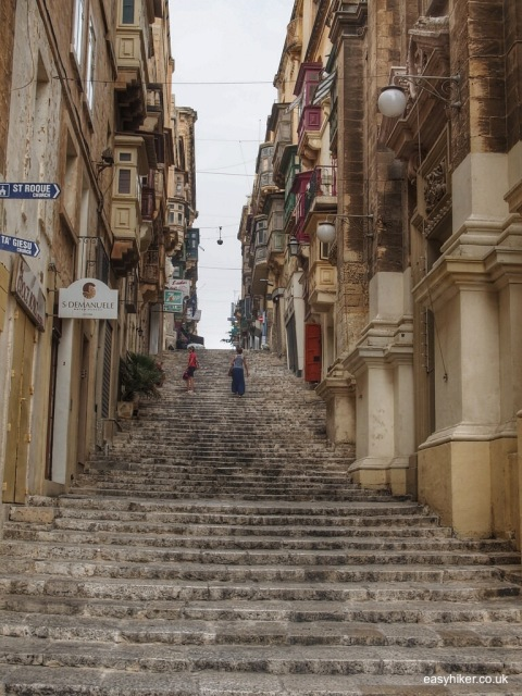 """one of the wide stairways of Valletta"""