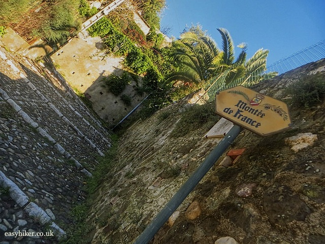 """way to get to top of the medieval town Haut de Cagnes in the Côte d'Azur"""