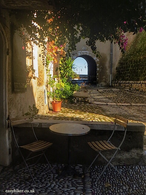 """a cafe atop the medieval town Haut de Cagnes"""