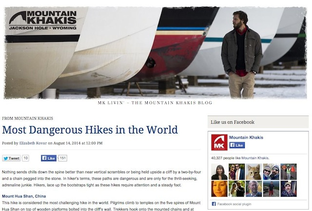 """one of 2014 holiday reading list of great travel writing - Most dangerous hikes"""