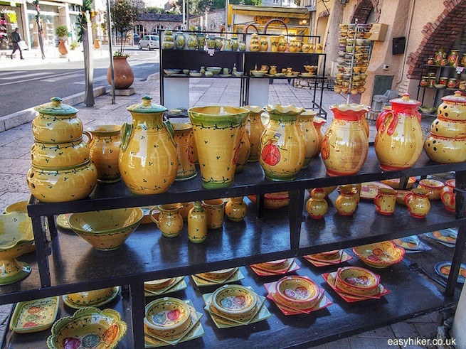 """Vallauris ceramics on sale in a shop"""