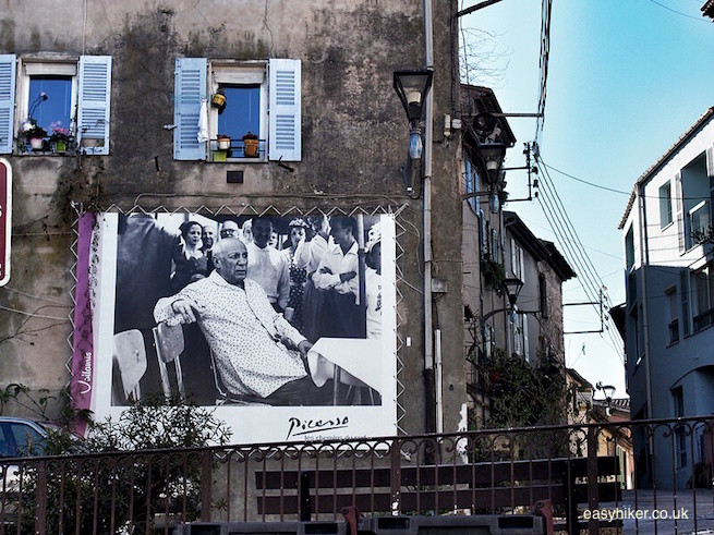 """huge mural painting of Picasso in Vallauris"""