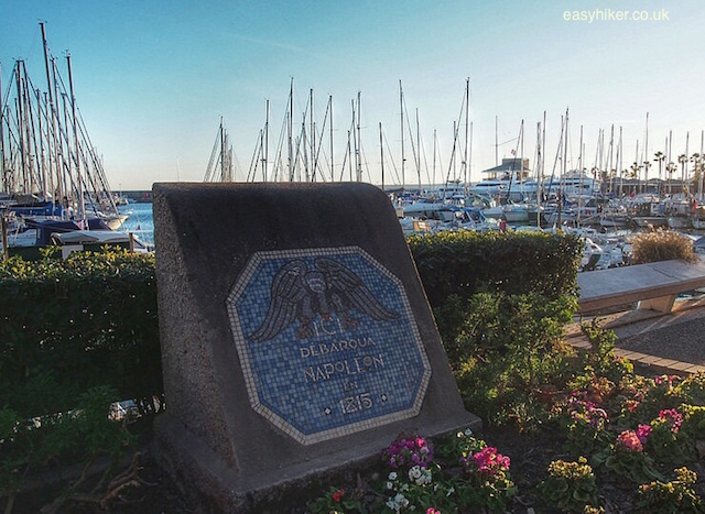"""Plaque marking landing spot of Napoleon in Golfe Juan between Cannes and Antibes"""