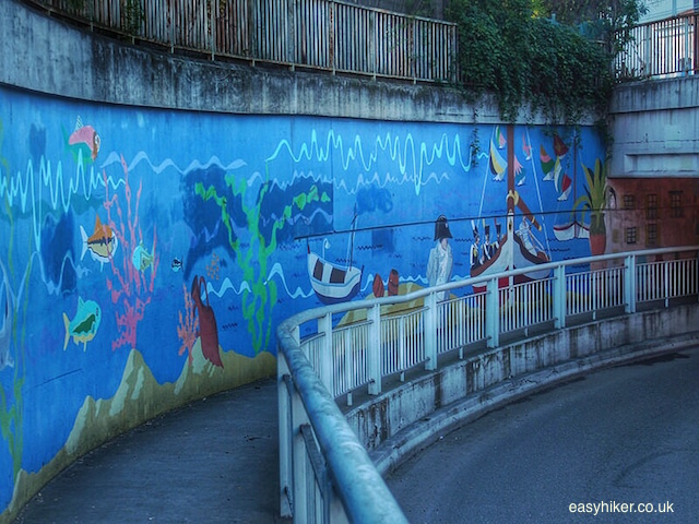 """Mural on a tunnel wall celebrating landing of Napoleon in port of Golfe Juan"""