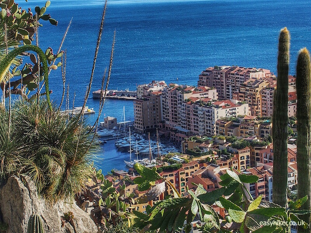 """Fontvieille Harbour in Monaco seen from jardin Exotique"""